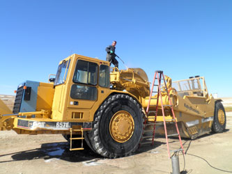 Heavy Equipment Cleaning with Wet Sandblasting